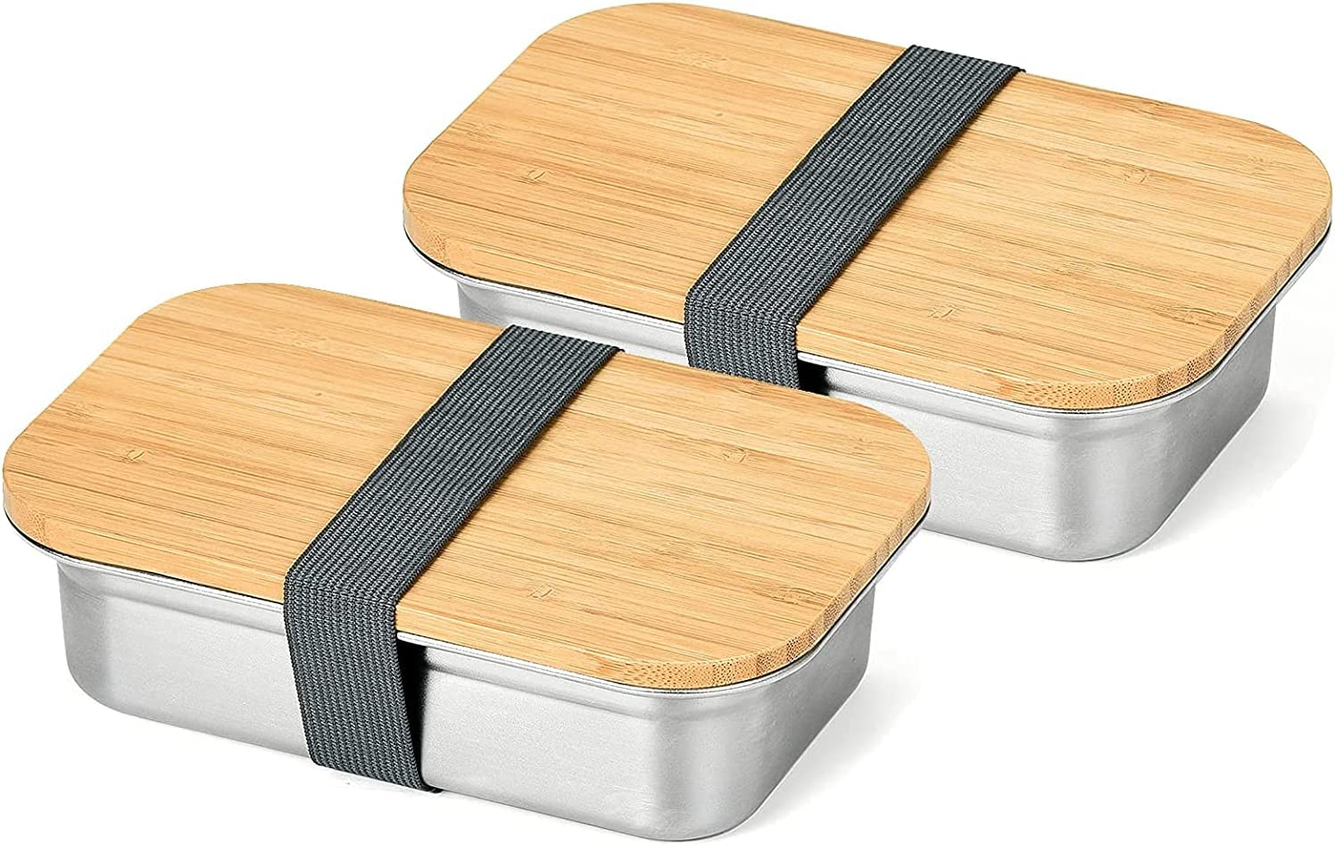 Bento Box Set For Adults Kids, Hystun Lunch Box Stainless Steel Snack Container with Leak-Proof Sealed Wooden Lid Japanese Food Containers for Work/School Lunch Packing/Meal Prep, Silver