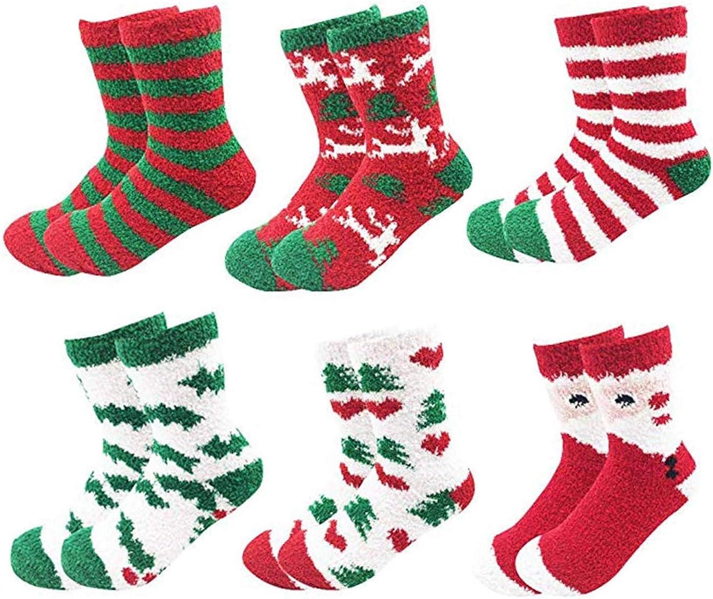 Women Plush Socks Xmas Holiday Winter Warm Fuzzy Crew Sock Colorful