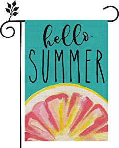 CROWNED BEAUTY Hello Summer Garden Flag Grapefruit 12×18 Inch Double Sided Vertical Yard Outdoor Decoration CF158-12