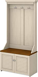 Bush Furniture Fairview Hall Tree with Shoe Storage Bench, Antique White