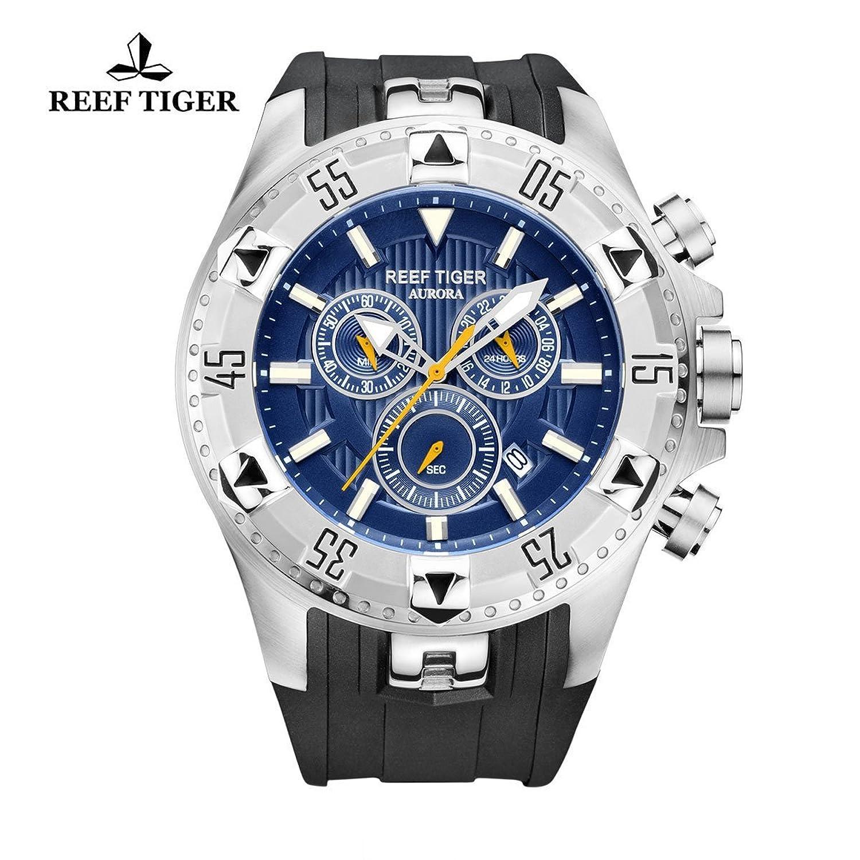 Reef Tiger Herren Sport Uhr mit Chronograph Datum Stahl Blau Zifferblatt Super Luminous Quarz Uhren rga303