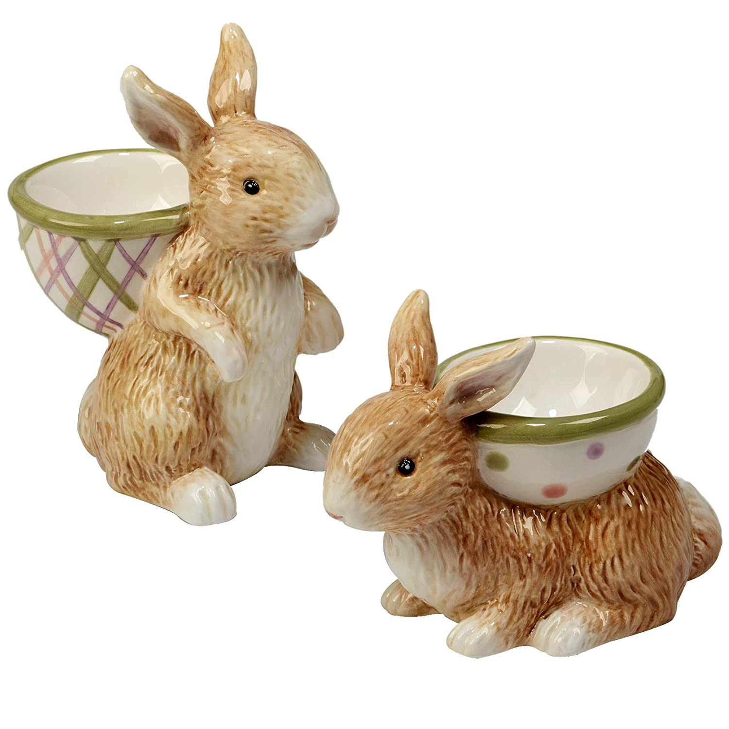 Multicolored 22670SET//6 Set of 6 2 Assorted Designs,One Size Certified International Bunny Patch 3-D Egg Cups