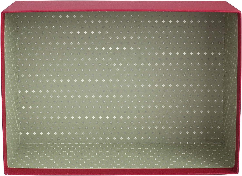33.5 cm x 25 cm x 11.5 cm Caja de Crema Con Tapa Azul Claro Interior de Lunares y Lazo Decorativo de Yute Emartbuy Lujo R/ígido Caja de Regalo de Presentaci/ón en Forma de Rect/ángulo