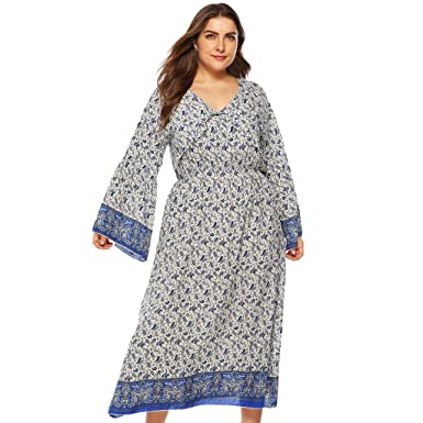 4ff9d5f1f4 Amazon.com  Women Plus Size L-4XL Dresses Casual Long Sleeve Ankle Length  Dress Loose Bohemian Print V-Neck Party Maxi Dress  Clothing