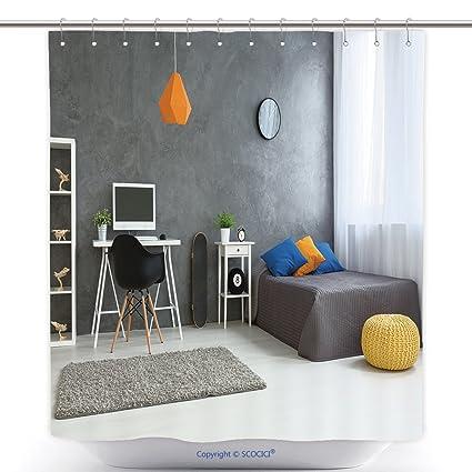 Vanfan Cool Shower Curtains Cozy Stylish Bedroom Designed Teenage Boy Grey Walls Wooden Floor On
