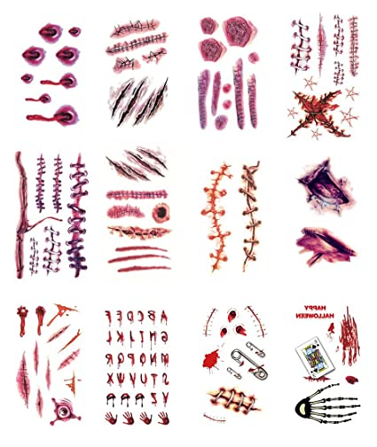 732e4dfb9 Amazon.com: Fake Wounds Temporary Tattoo Scar Stickers for Halloween Party  Zombies Cosplay, 24 Sheets: Toys & Games