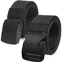 2 Piezas Cinturón Hombres Táctico Militar Ajustable Cintura Lona Correa Nylon Hebilla de Plástica