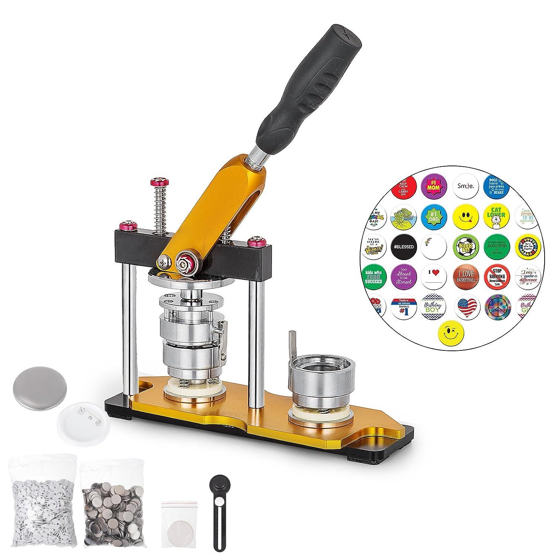 OrangeA Button Maker 75mm Badge Machine with 100 Sets Circle Button Parts Rotate Button Badge Maker Punch Press Machine for DIY Badges