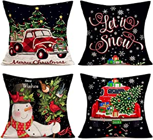 "Christmas Pillow Covers Set of 4 Cotton Linen Black Background with Merry Christmas Series Xmas Red Truck Bird Snowflske Decorative Throw Pillow Case Let It Snow Quote Cushion Cover 18"" x 18"" (Black )"