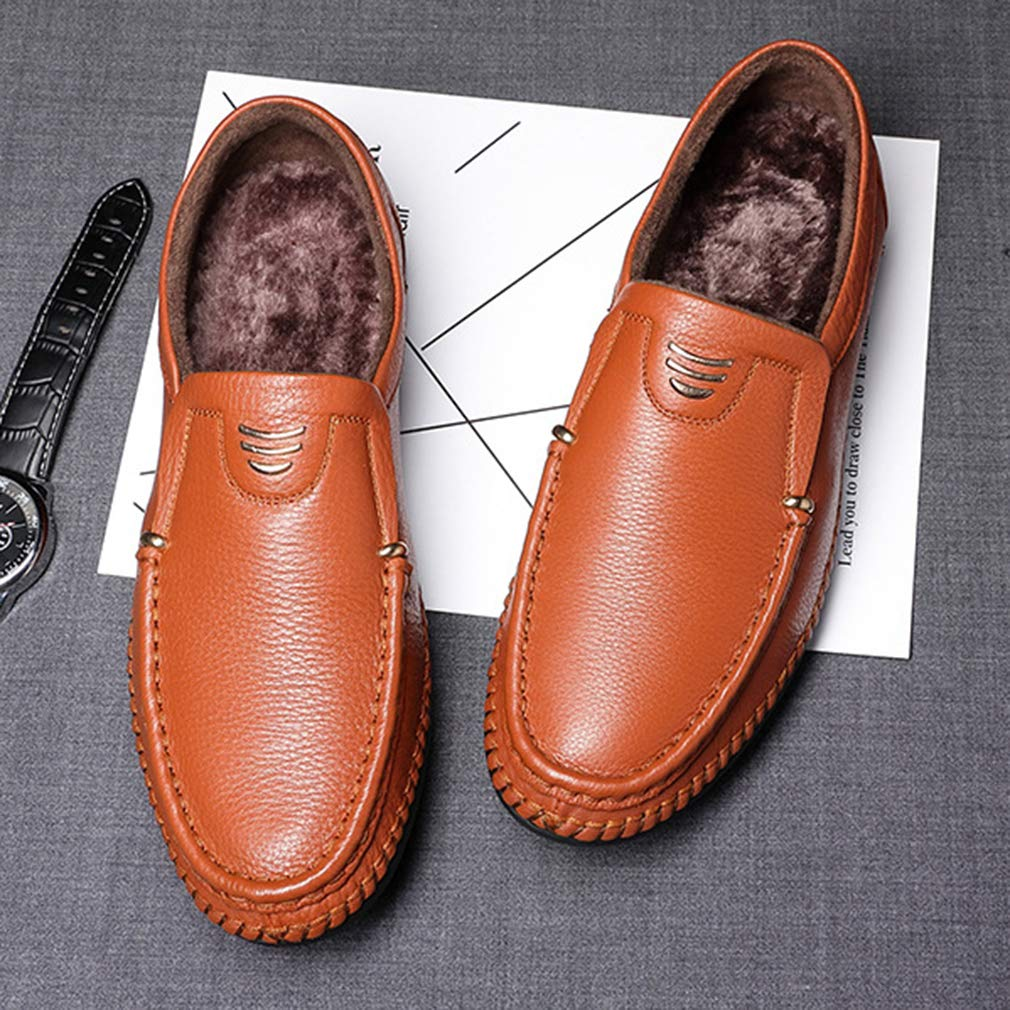 615ec356036f7 ... Femaroly Men s Casual Leather Shoes Breathable Soft Soft Soft Loafers  Oxford Dress Shoes Square-toe ...