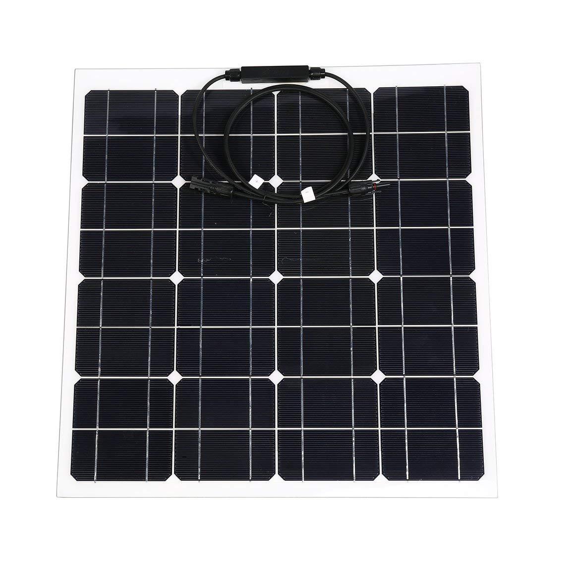 Funnyrunstore 12V 50W Flessibile della Batteria Caricatore Solare Caricatore del Pannello Solare Portatile con la Clip,Nero