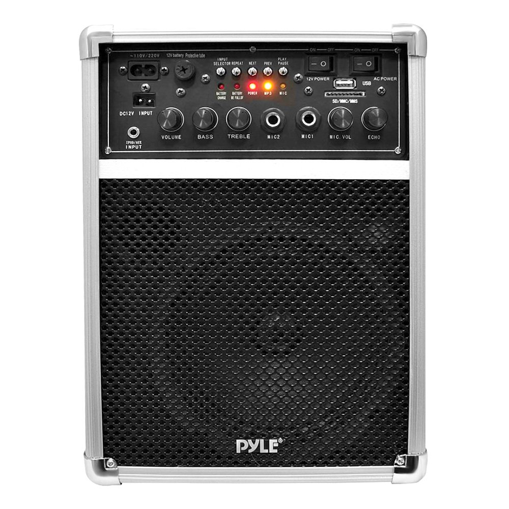 Pyle Pro Outdoor Indoor Wireless Bluetooth Portable PA Stereo Sound System with 6.5 inch Speaker, USB SD Card Reader, Rechargeable Battery,  Indicator Lights, Wireless Microphone, Remote - PWMA170 by Pyle (Image #2)