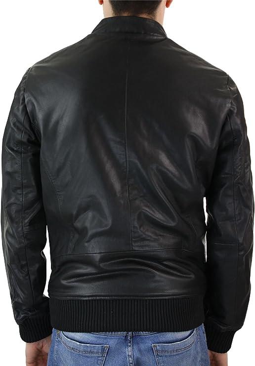 TruClothing.com Chaqueta Biker de Cuero Ajustada con Cremallera para Hombre. Cuello Nehru