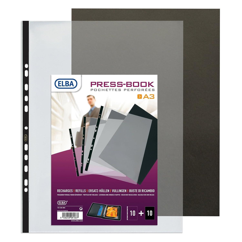 Elba - Buste trasparenti con cartoncino bristol, per cartella espositiva, formato A3, 10pezzi Hamelin Brands