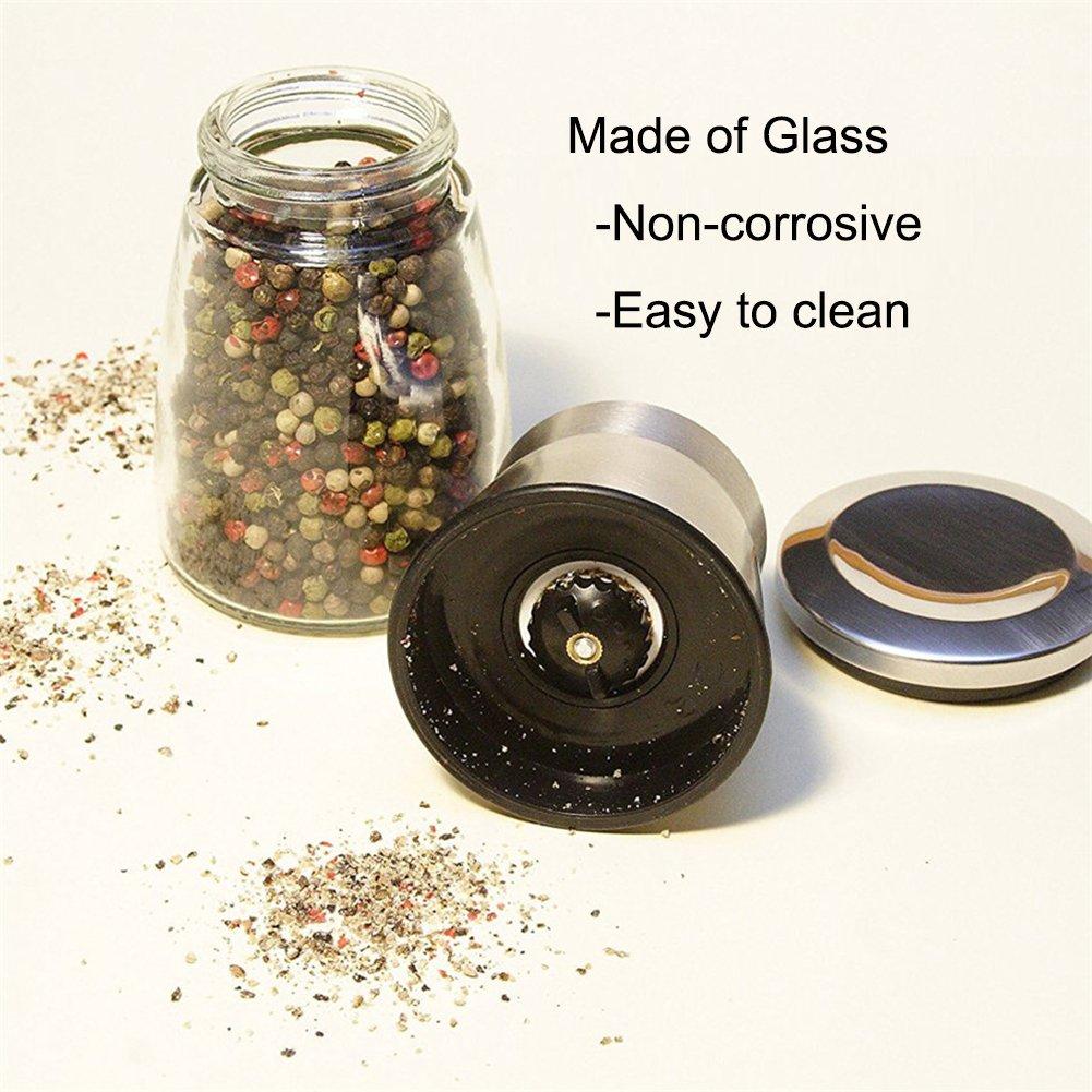 NUOMI Pepper Grinder Mills Sea Salt Shakers Manual Adjustable Grind Coarseness Clear Glass Body