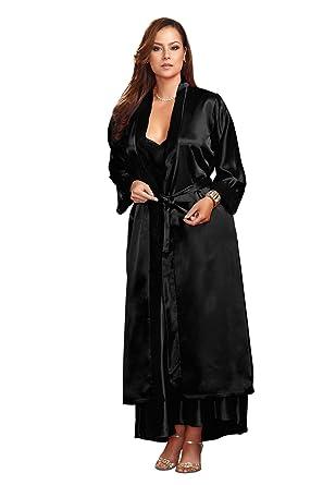 ed9394dec3c51 Amazon.com  iCollection Women s Plus Size Long Robe-Lace Trim Cuffs ...