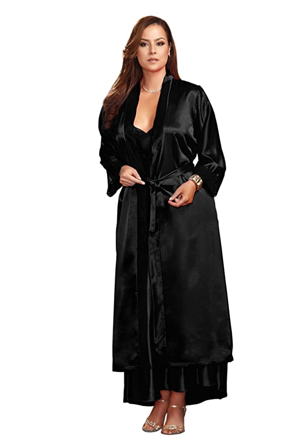 Floor length black satin robe