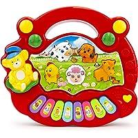 Teclado para bebe, Piano Musical con Teclado para niños, Varios Modelos - Piano Musical para bebé, Instrumentos de Juguete con Canciones, Piano con Sonido de Animal, Regalo para bebe ideal para Navidad, cumpleaños y cualquier ocasión (Rojo con Osito)