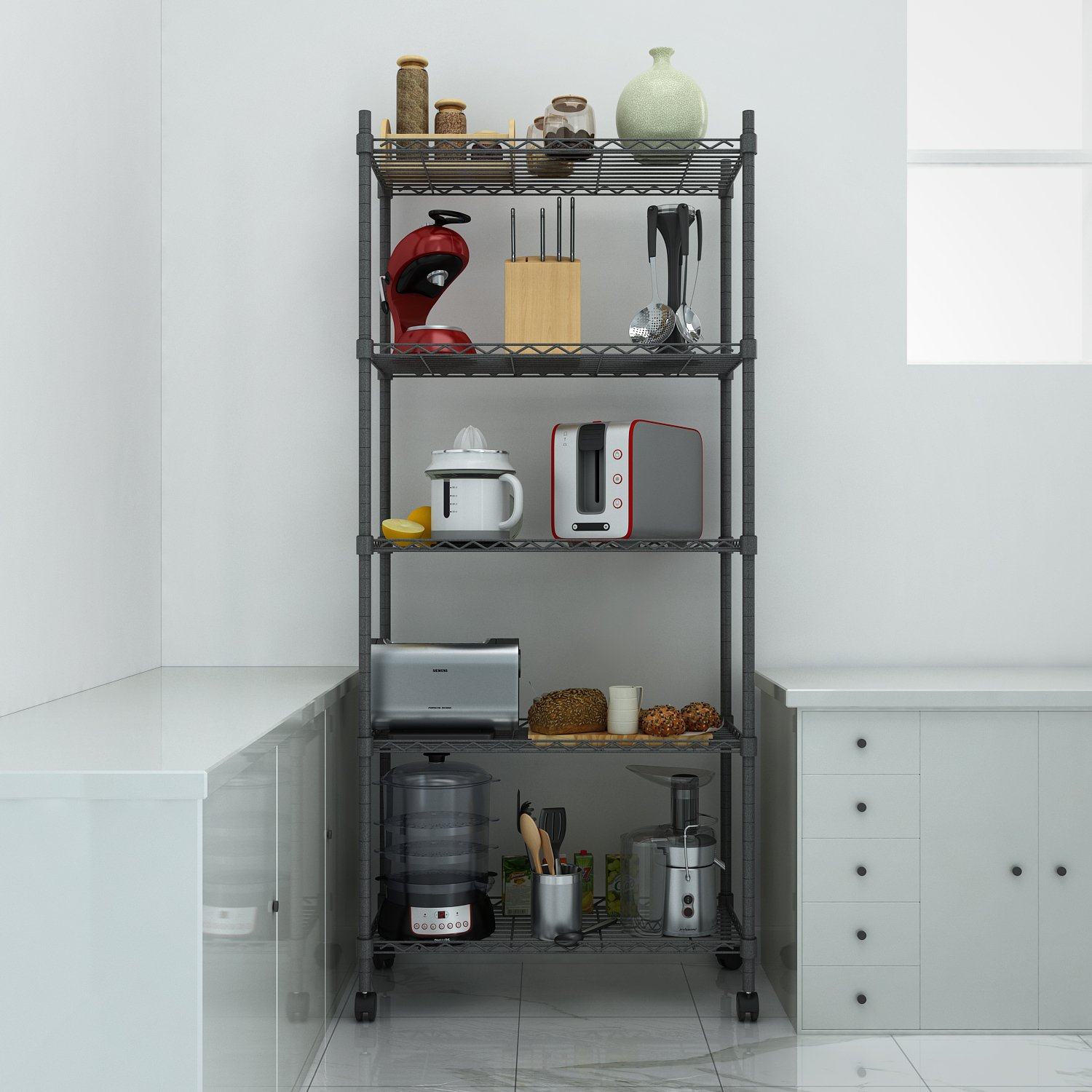 Homdox Metal Shelving Unit 5 Shelf Steel Wire Shelves Room Wiring And With Wheels Storage Rack For Garage Kitchen Bedroomblack Dining