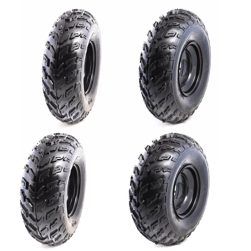 TDPRO Set of 4 ATV Tires 23x7-10 Wheels with Rims | Tubeless tire for Go Kart UTV Quad Bike
