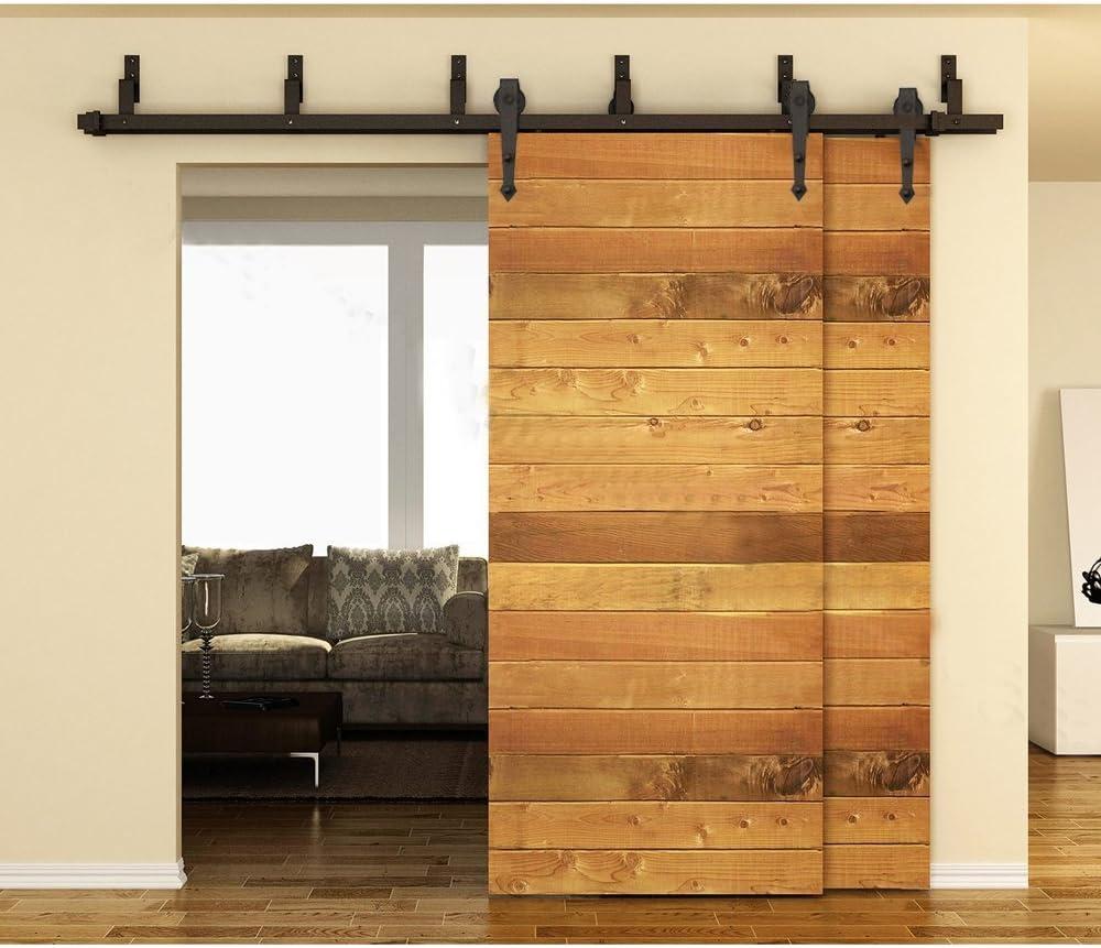 KIRIN 152,4 cm flecha negra diseño derivación doble puerta de madera rústica del granero armario correderas riel Hardware de juego: Amazon.es: Bricolaje y herramientas