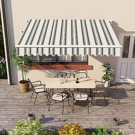 Greenbay 3 x 2.5m DIY Patio Retractable Manual Awning Garden Sun Shade Canopy Gazebo Green with Fittings and Crank Handle
