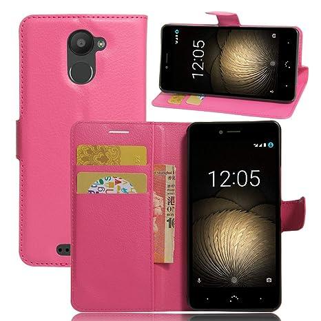 Nadakin BQ Aquaris U Plus Cartera de Cuero con Carcasa de Teléfono Flip Funda con Soporte Magnetico de Cierre para BQ Aquaris U Plus (Rosa Caliente)