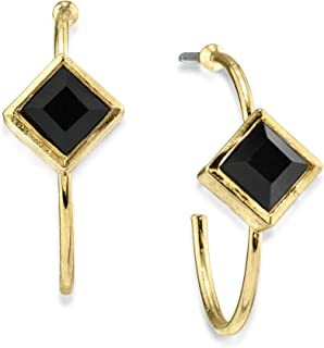 product image for 1928 Jewelry 14K Gold Dipped Diamond Shape Crystal Open Hoop Stainless Steel Post Earrings