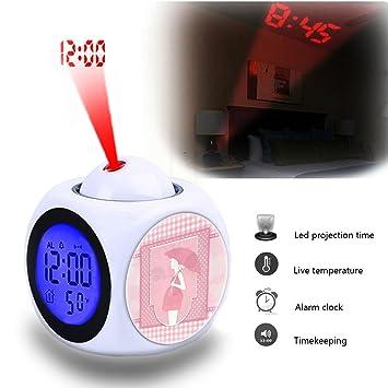 Alarma de proyección reloj despertador dormitorio con datos y temperatura pantalla Talking función, LED de