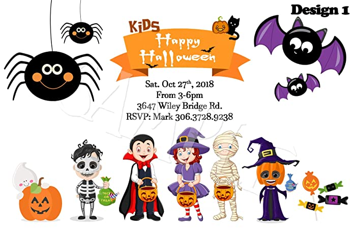 Image Unavailable Not Available For Color Halloween KIDS Personalized Party Invitations