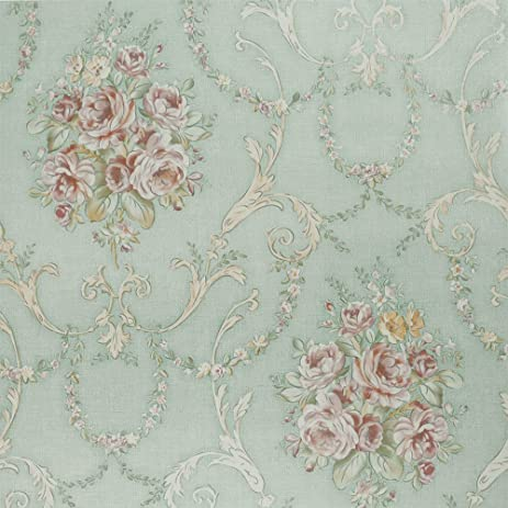SiCoHome Wallpaper11 Yards Light Blue Damask Floral Peel And Stick Wallpaper For Home Bar