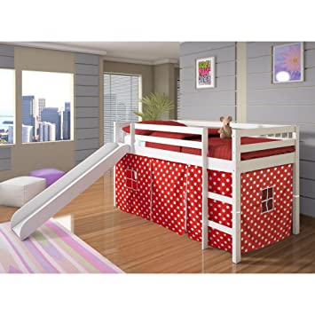 Donco Kids Twin Loft Tent Bed with Slide - White  sc 1 st  Amazon.com & Amazon.com: Donco Kids Twin Loft Tent Bed with Slide - White ...