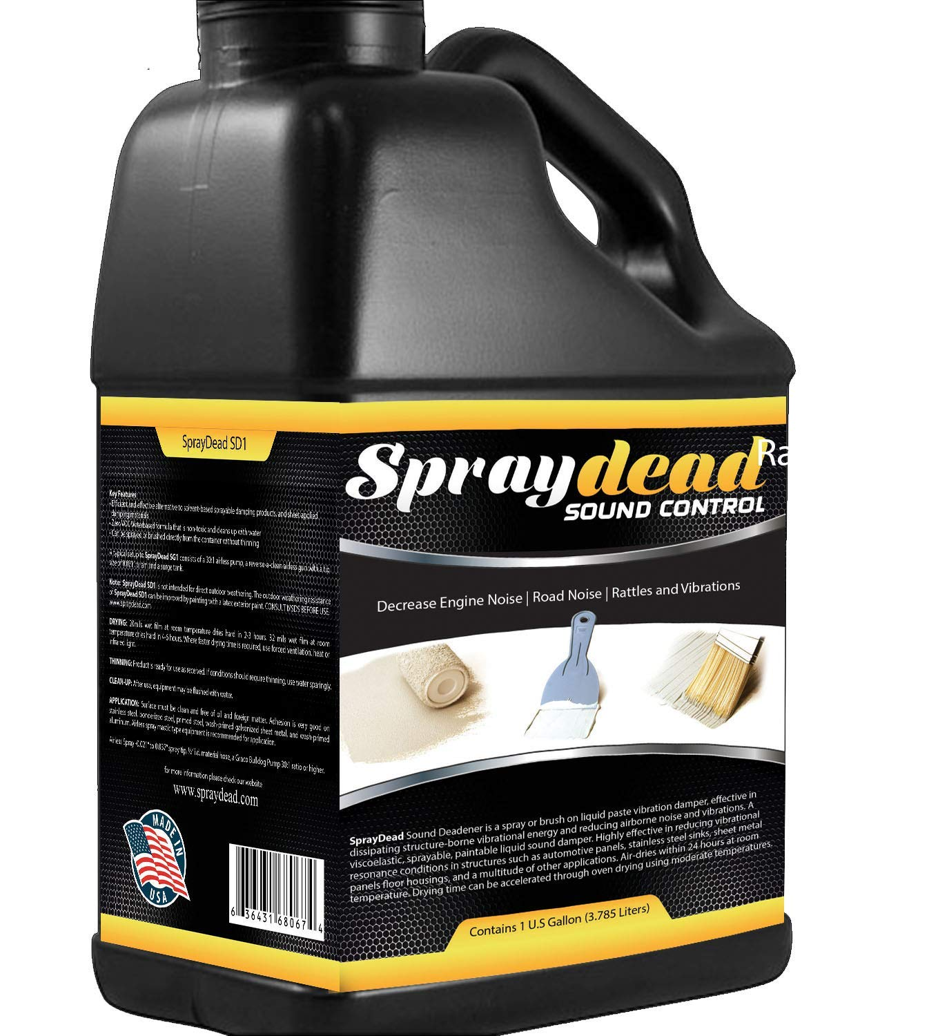 1 Gallon Spraydead Sprayable/brushable Paint on Liquid Sound Deadener,brush, or Spray on Dead Noise Proofing Control Material + Free Application Brush Gloves and Coupon Card Brushable Paintable Paint on Thermal Automotive Coating Liquid Sludge Material