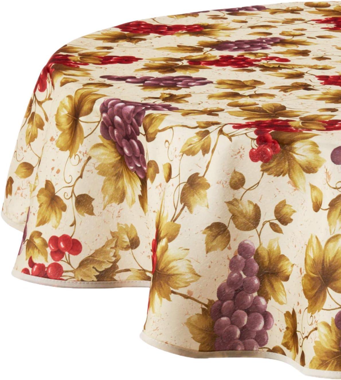 """Violet Linen European Vineyard Tablecloth 60"""" Round Beige"""
