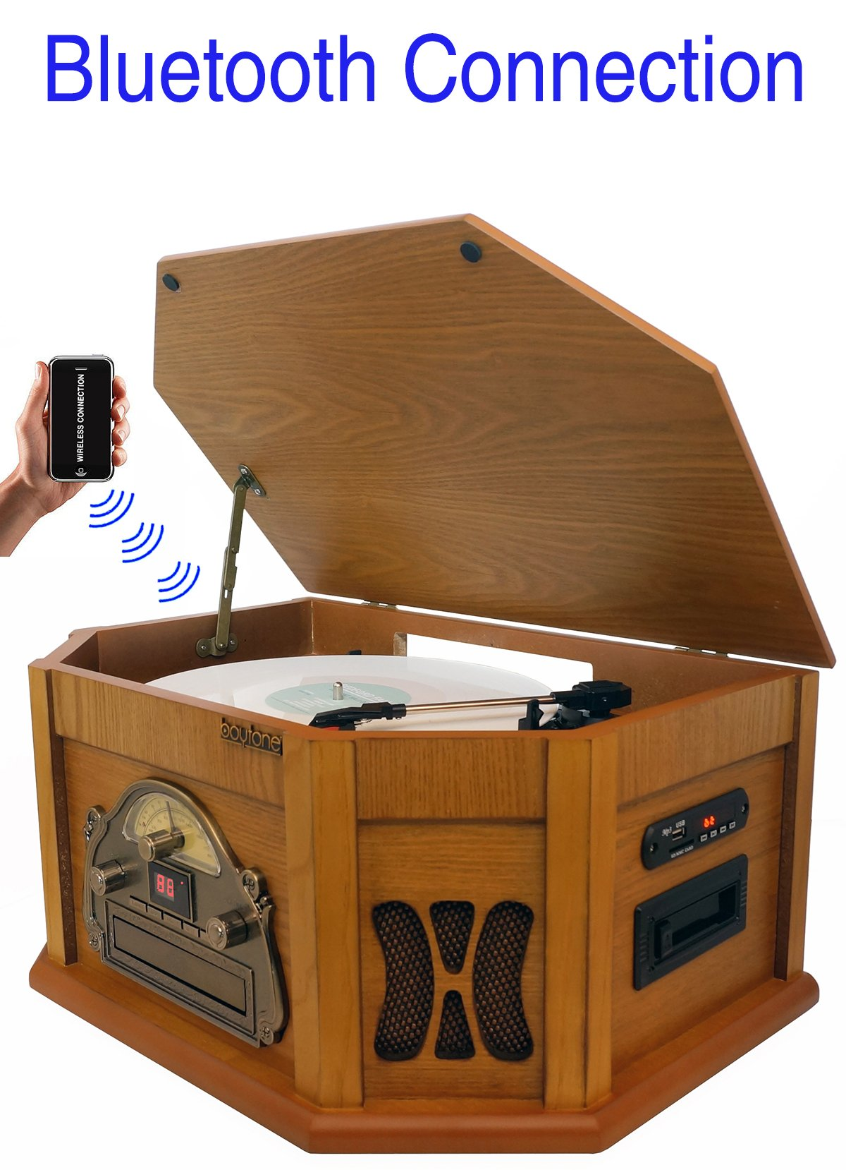 8-in-1 Boytone BT-25PW with Bluetooth Connection Natural wood Classic Turntable Stereo System, Vinyl Record Player, AM/FM, CD, Cassette, USB, SD slot. 2 Built-in Speaker, Remote Control, MP 3 Players