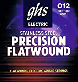 GHS Strings 900 Precision Flats, Stainless Steel Flat Wound Electric Guitar Strings, Light (.012-.050)