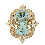 8.27 Carat Natural Aquamarine 14K Rose Gold Diamond Ring