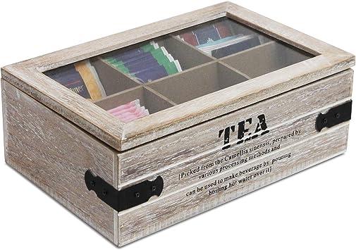 Caja para té con ventana y 6 compartimentos, 24 x 16 x 8 cm, color natural/negro, caja de madera, caja para té: Amazon.es: Bricolaje y herramientas