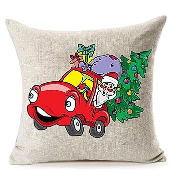 Amazon.com: Árbol de Navidad y coche rojo fundas de almohada ...