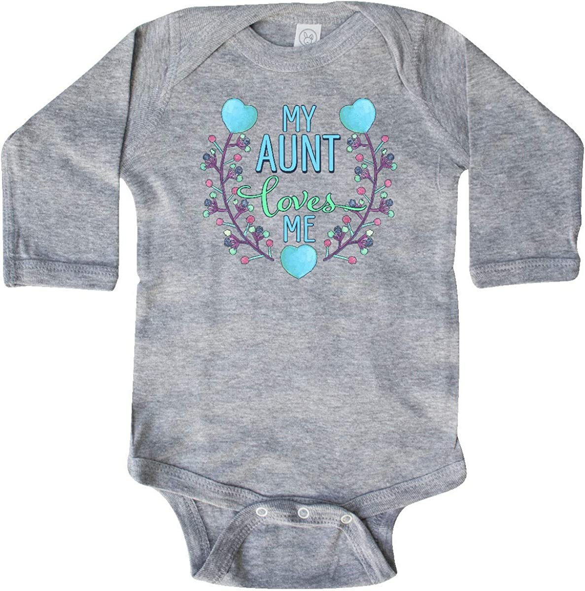 inktastic My Aunt Loves Me Painted Flowers and Hearts Long Sleeve Creeper