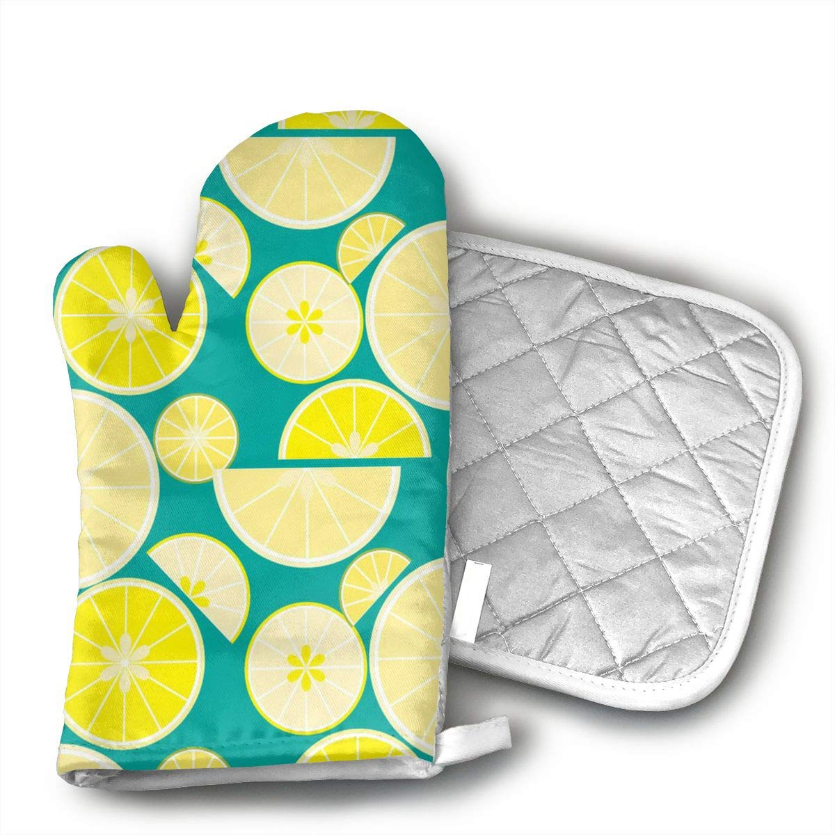 Xayeu Delicious Summer Lemon Oven Mitts Kitchen Cooking Cotton Microwave Oven Gloves Mitts Pot Pad Heat Proof Protected Gloves