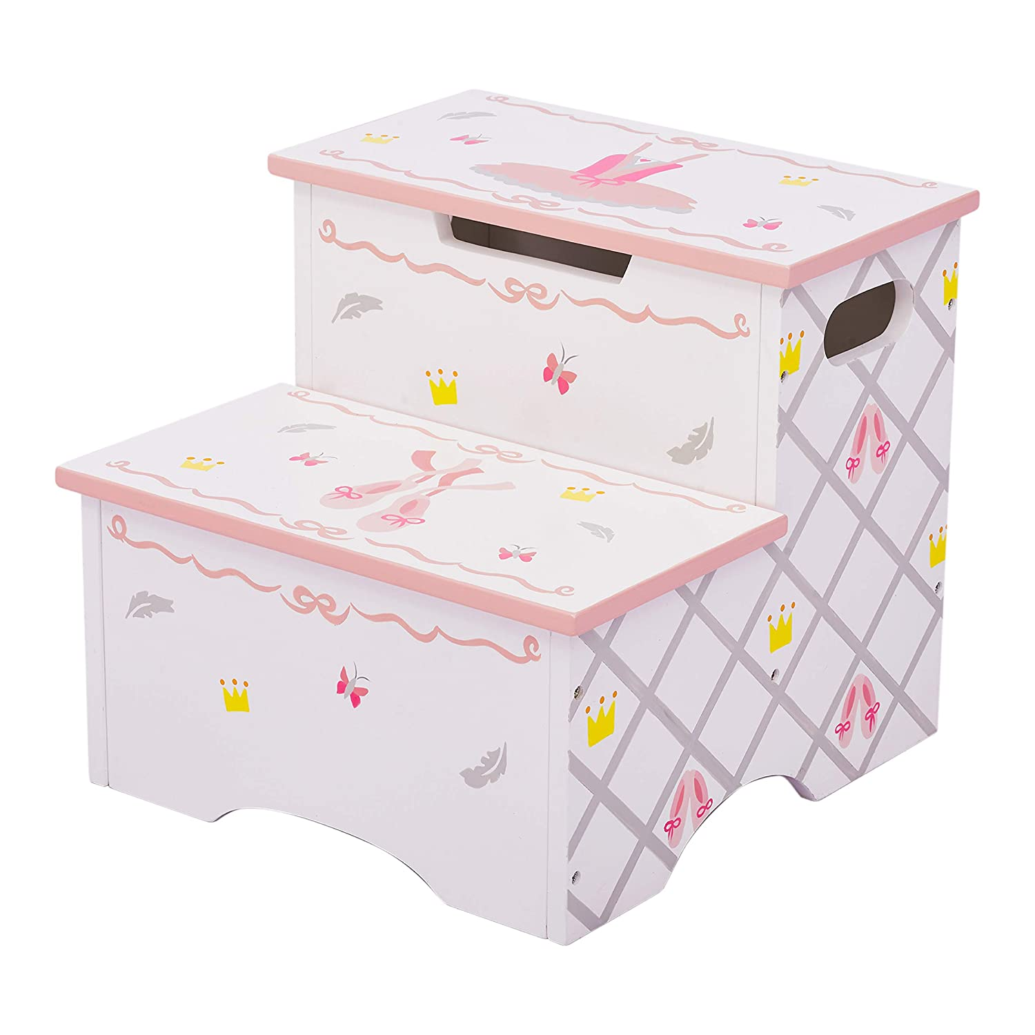 Fantasy Fields TD-12719A Swan Lake Ballerina Step Stool, Hand-Painted Kids Wooden Furniture, White/Pink