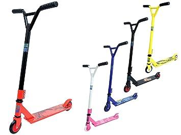 Patinete Freestyle Pro Stunt, realiza trucos de 360 grados, barra fija de acero, rodamientos ABEC 7, para niños y adultos, rojo