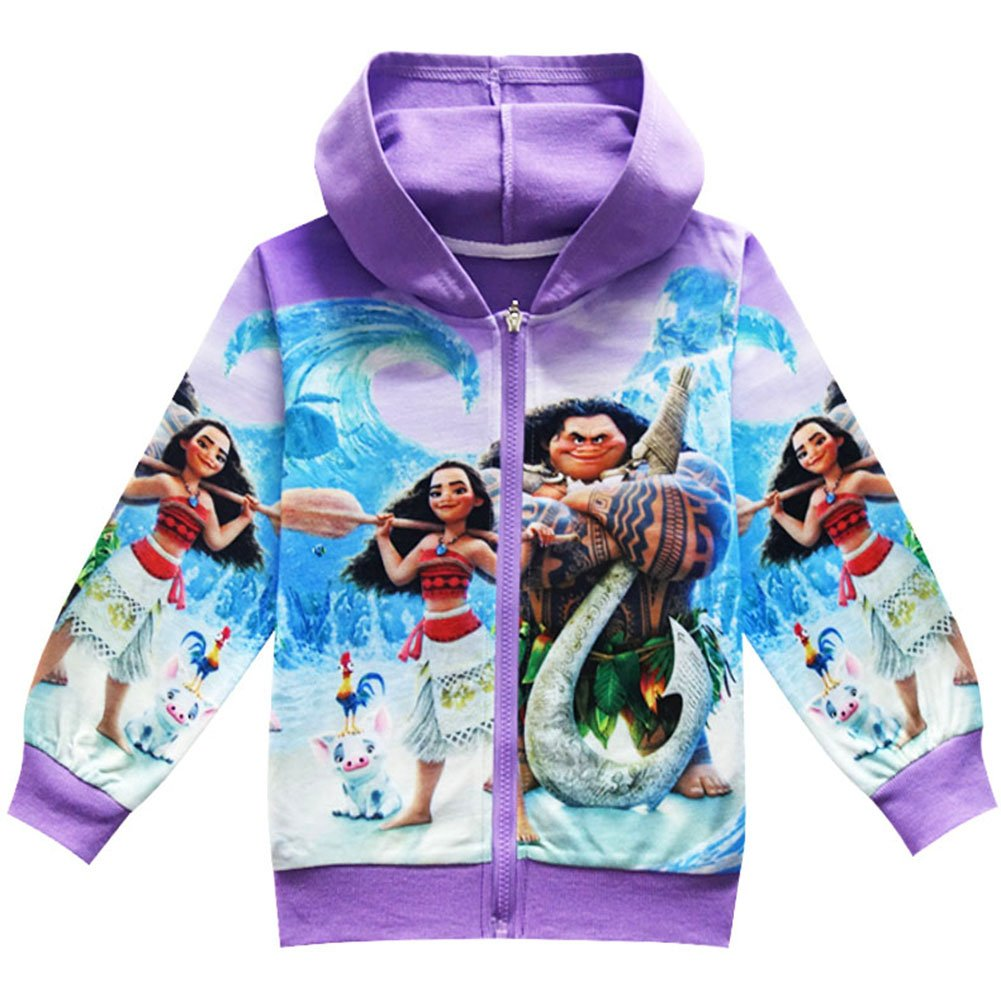KIDHF Girls Zip Hoodie Moana Sweatshirt Children Coat Cartoon Outwear Jacket