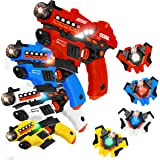 VATOS Laser Tag Set with Spray Function and LED Display Screen, Set of 4 Laser Tag Gun with Vests for Kids Teenager Adults Fa