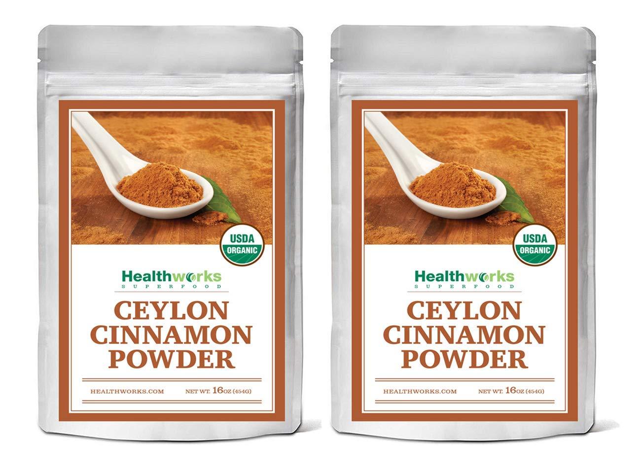 Healthworks Ceylon Cinnamon Powder Raw Organic, 2lb, (packaging may vary)