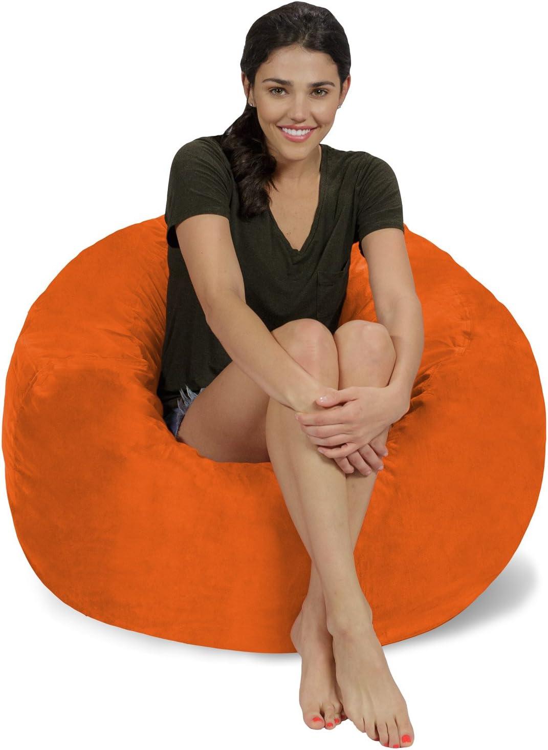 Chill Sack Bean Bag Chair: Large 3' Memory Foam Furniture Bean Bag - Big Sofa with Soft Micro Fiber Cover - Orange Micro Suede