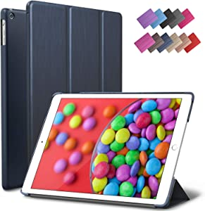 iPad Air Case, ROARTZ Metallic Navy Blue Slim Fit Smart Rubber Coated Folio Case Hard Shell Cover Light-Weight Auto Wake/Sleep for Apple iPad Air 1st Generation Model A1474/A1475/A1476 Retina Display