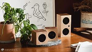 Soundgil High End Hi-Fi Speaker 200-Watt 4 Speaker Bluetooth Wireless Speaker Home Theater Speaker System Premium Anodized Aluminum Bookshelf Superior Stereo Sound System-Cube Speaker (Gold)