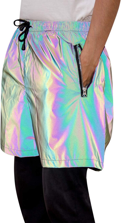 Rainbow Reflective Shorts Pants Men Fluorescent Trousers Casual Night Jogger Medium